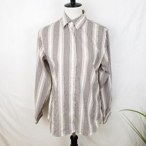♦️2/$10 Foxcroft Brown and White Striped Button-up